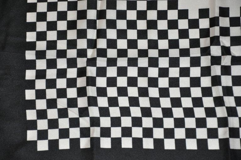 Iconic Bill Blass Black & White Checkered Signature Logo Silk Scarf For Sale 1