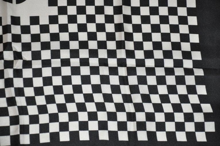 Iconic Bill Blass Black & White Checkered Signature Logo Silk Scarf For Sale 2