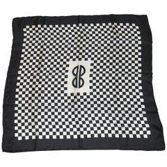 Iconic Bill Blass Black & White Checkered Signature Logo Silk Scarf