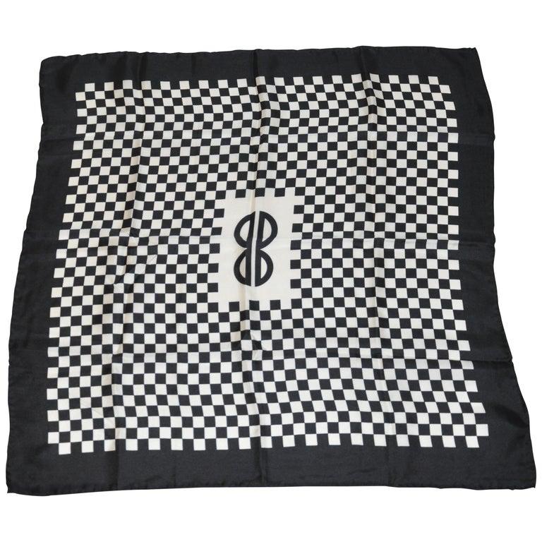 Iconic Bill Blass Black & White Checkered Signature Logo Silk Scarf For Sale