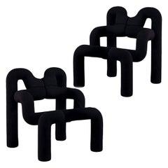 Iconic Black Armchairs by Terje Ekstrom, Norway, 1980s