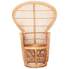Iconic Bohemian Rattan and Wicker Peacock Chair, 1970s