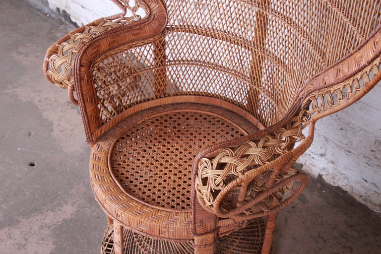 Iconic Bohemian Wicker Emanuelle Peacock Chair 1970s For