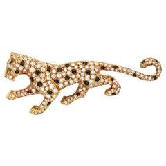 Iconic Cartier Panthère Diamond Onyx Emerald Brooch