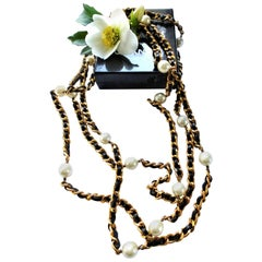 Iconic Chain with leather woven throughout and Chanel pearls, 1990s
