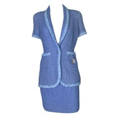 Iconic CHANEL 1995 Lavender Tweed Sequins Skirt Suit as seen on Claudia