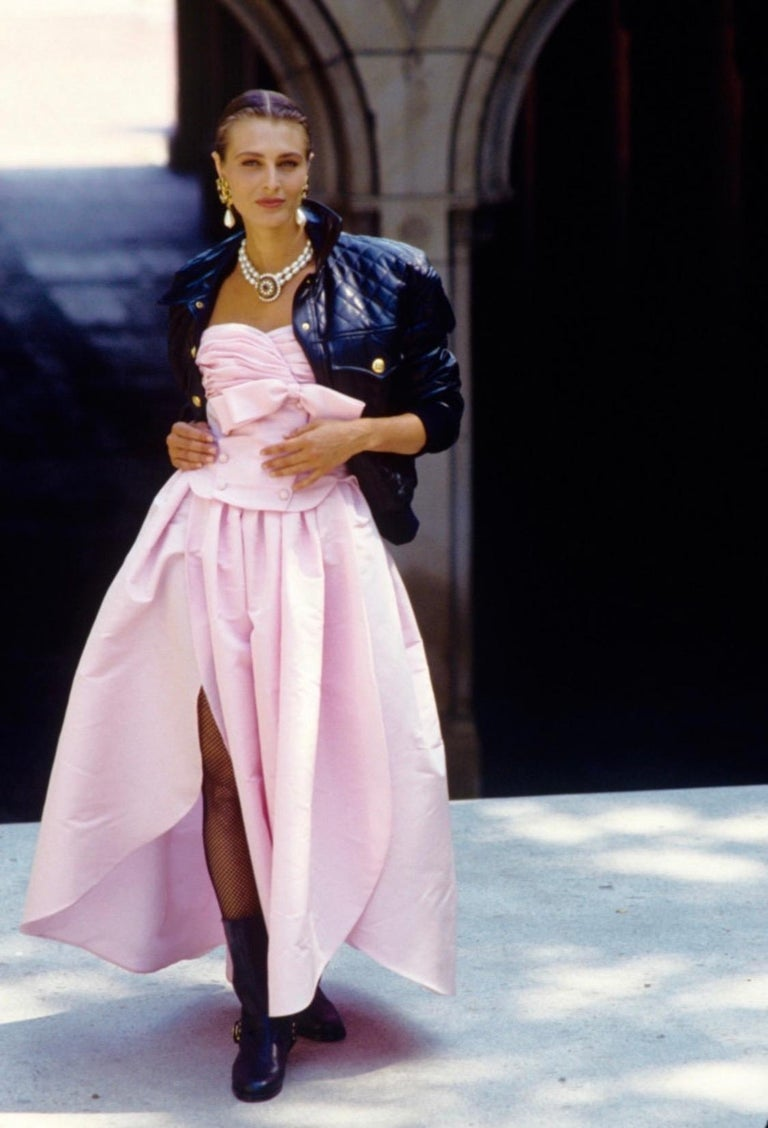"Iconic Chanel Fall/Winter 1991 ""Motorcycle Collection"" Silk Taffeta Ball Gown  For Sale 6"
