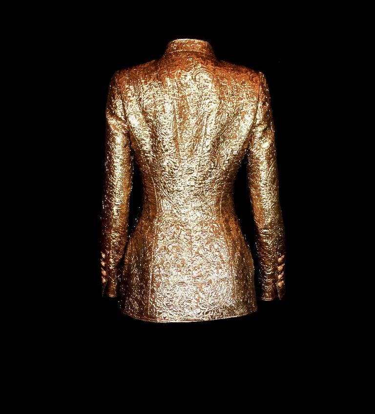 Brown Iconic Chanel Golden Metallic 3D Structured Jacket Blazer For Sale