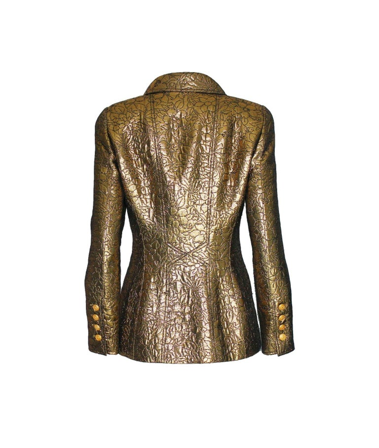 Brown NEW Chanel Iconic Golden Metallic 3D Structured Jacket Blazer For Sale