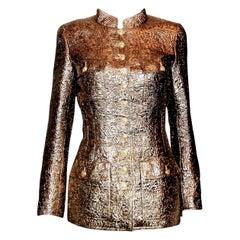 Iconic Chanel Golden Metallic 3D Structured Jacket Blazer