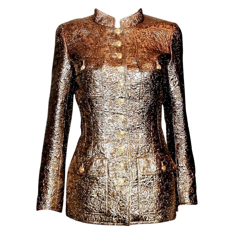 Iconic Chanel Golden Metallic 3D Structured Jacket Blazer For Sale