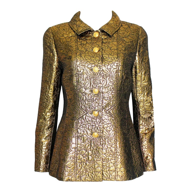 NEW Chanel Iconic Golden Metallic 3D Structured Jacket Blazer For Sale