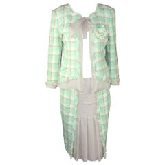 Iconic Chanel Lesage Fantasy Tweed and Silk Camellia Pastels Jacket Skirt Suit