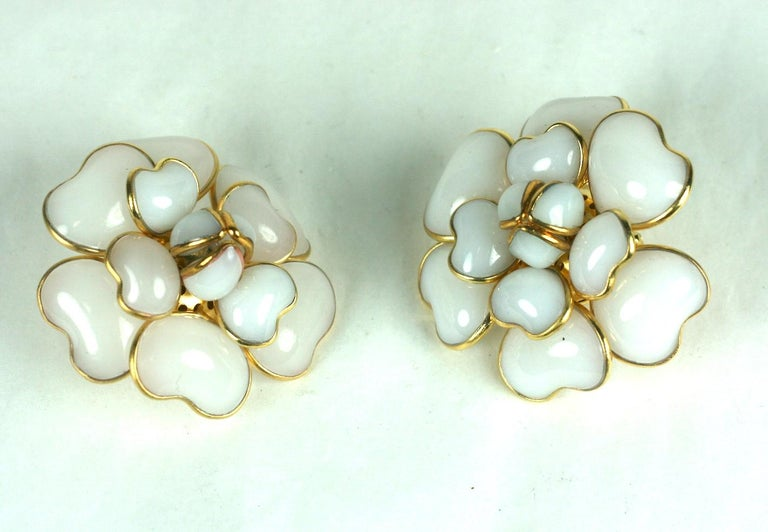 Iconic Chanel Maison Gripoix White Opal Camelia Earclips In Excellent Condition For Sale In Riverdale, NY
