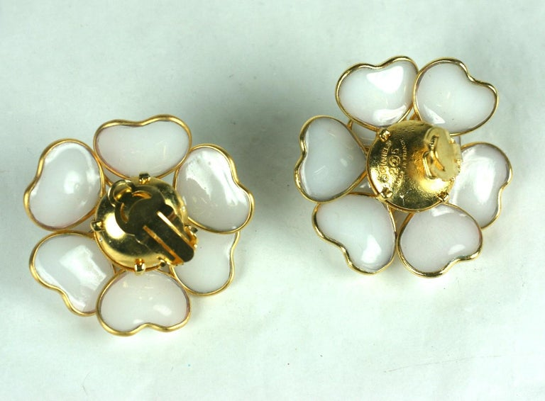 Women's Iconic Chanel Maison Gripoix White Opal Camelia Earclips For Sale