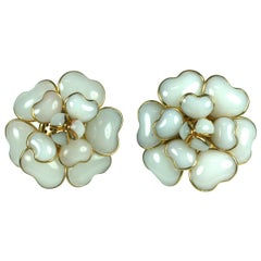 Iconic Chanel Maison Gripoix White Opal Camelia Earclips