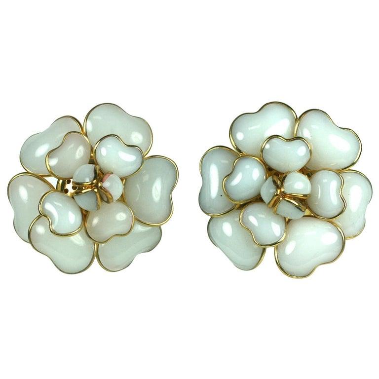 Iconic Chanel Maison Gripoix White Opal Camelia Earclips For Sale