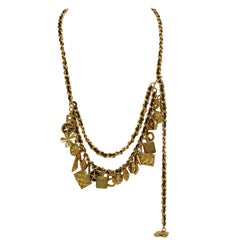Iconic Chanel Multi Gold Charm Leather Necklace or Belt
