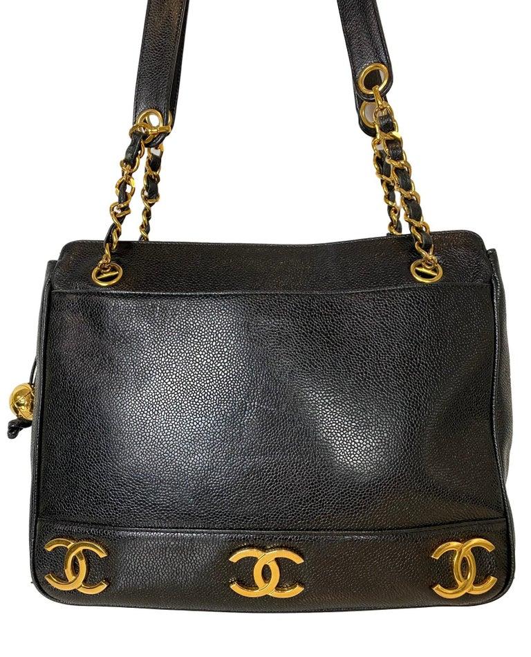 Iconic Chanel Vintage Black Caviar Leather Triple Logo Shoulder Bag, 1994 For Sale 6