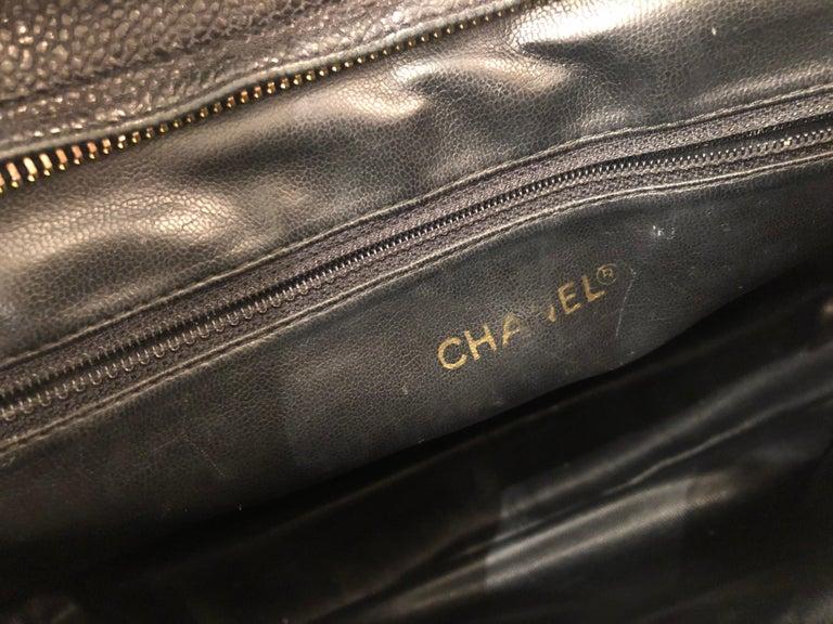 Iconic Chanel Vintage Black Caviar Leather Triple Logo Shoulder Bag, 1994 For Sale 7
