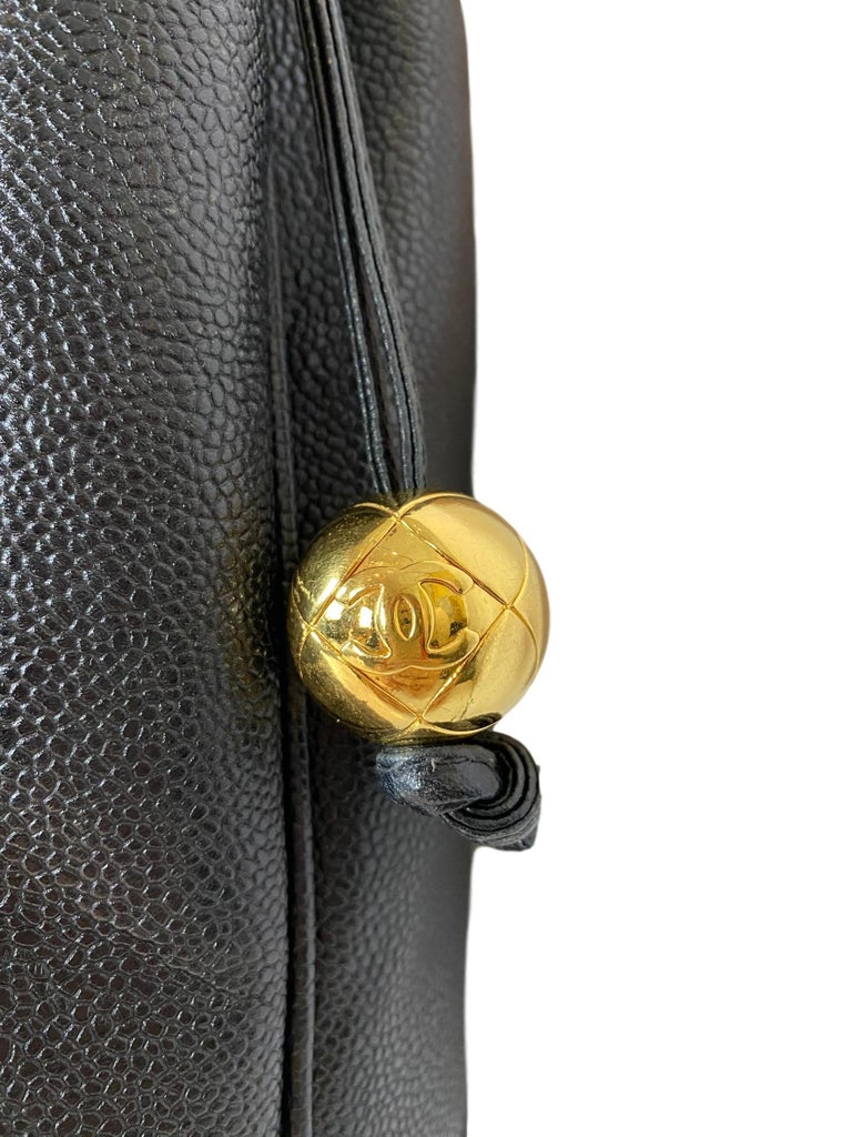 Women's or Men's Iconic Chanel Vintage Black Caviar Leather Triple Logo Shoulder Bag, 1994 For Sale