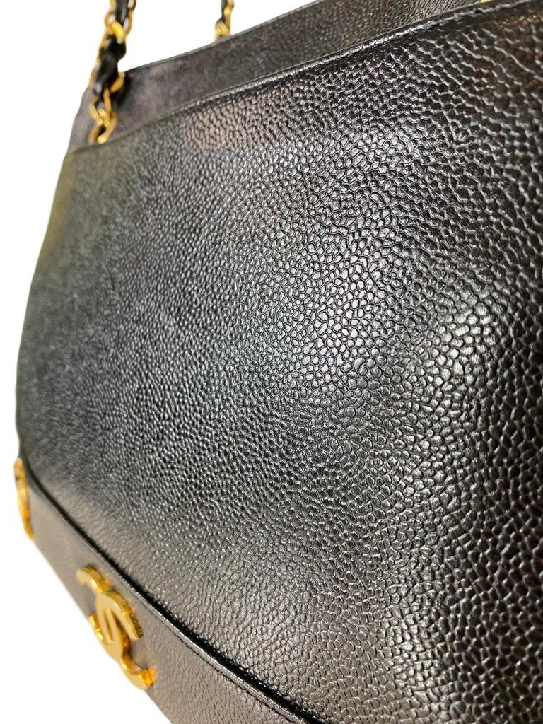 Iconic Chanel Vintage Black Caviar Leather Triple Logo Shoulder Bag, 1994 For Sale 1