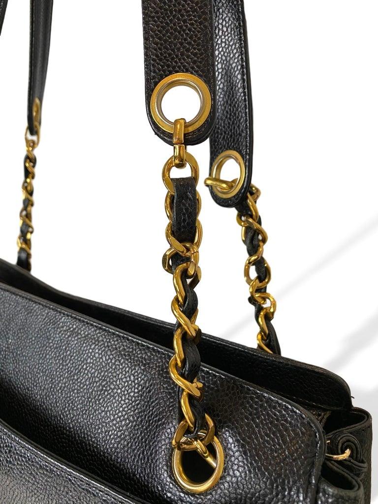 Iconic Chanel Vintage Black Caviar Leather Triple Logo Shoulder Bag, 1994 For Sale 2