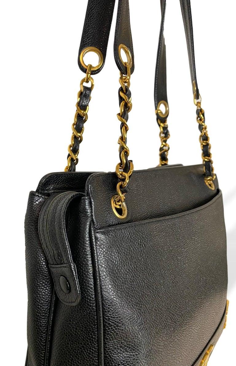 Iconic Chanel Vintage Black Caviar Leather Triple Logo Shoulder Bag, 1994 For Sale 3