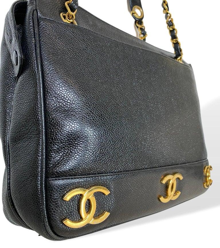 Iconic Chanel Vintage Black Caviar Leather Triple Logo Shoulder Bag, 1994 For Sale 4
