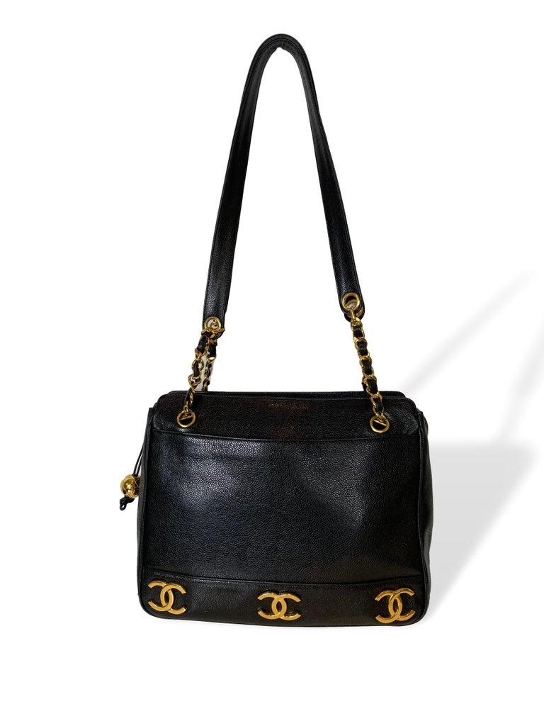 Iconic Chanel Vintage Black Caviar Leather Triple Logo Shoulder Bag, 1994 For Sale 5