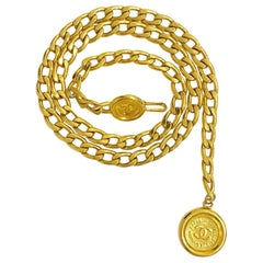 Iconic CHANEL Vintage Chain Belt in Gilt Metal