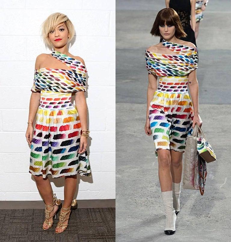 Iconic Chanel Watercolors Corset Silk Ensemble Set as Dress For Sale 3