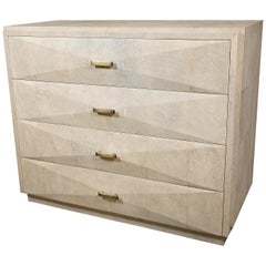 Iconic Chest of Drawers with Beveled Drawers in Cream Shagreen by R&Y Augousti
