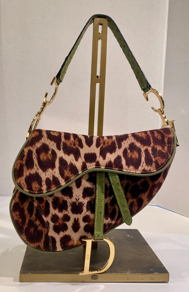 Iconic Christian Dior Leopard Print Saddle Bag with Gold-tone Logo Hardware For Sale 6