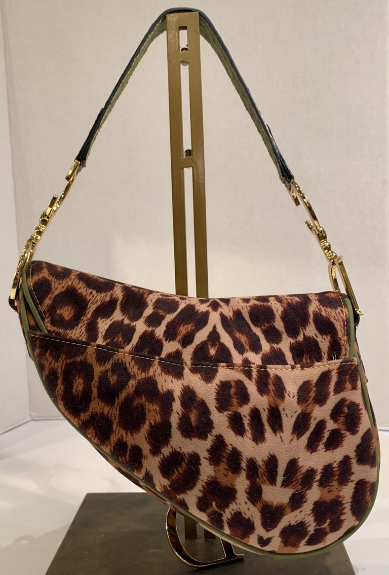 Iconic Christian Dior Leopard Print Saddle Bag with Gold-tone Logo Hardware For Sale 7