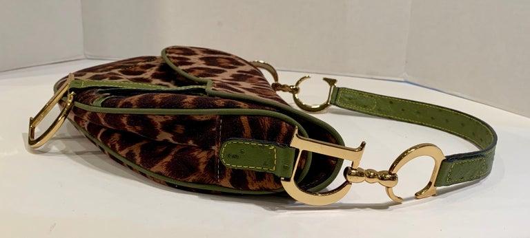 Black Iconic Christian Dior Leopard Print Saddle Bag with Gold-tone Logo Hardware For Sale