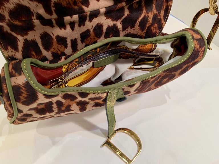 Women's Iconic Christian Dior Leopard Print Saddle Bag with Gold-tone Logo Hardware For Sale