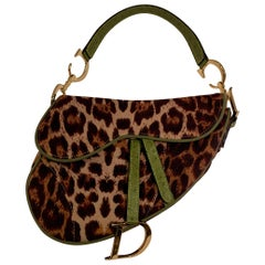 Iconic Christian Dior Leopard Print Saddle Bag with Gold-tone Logo Hardware