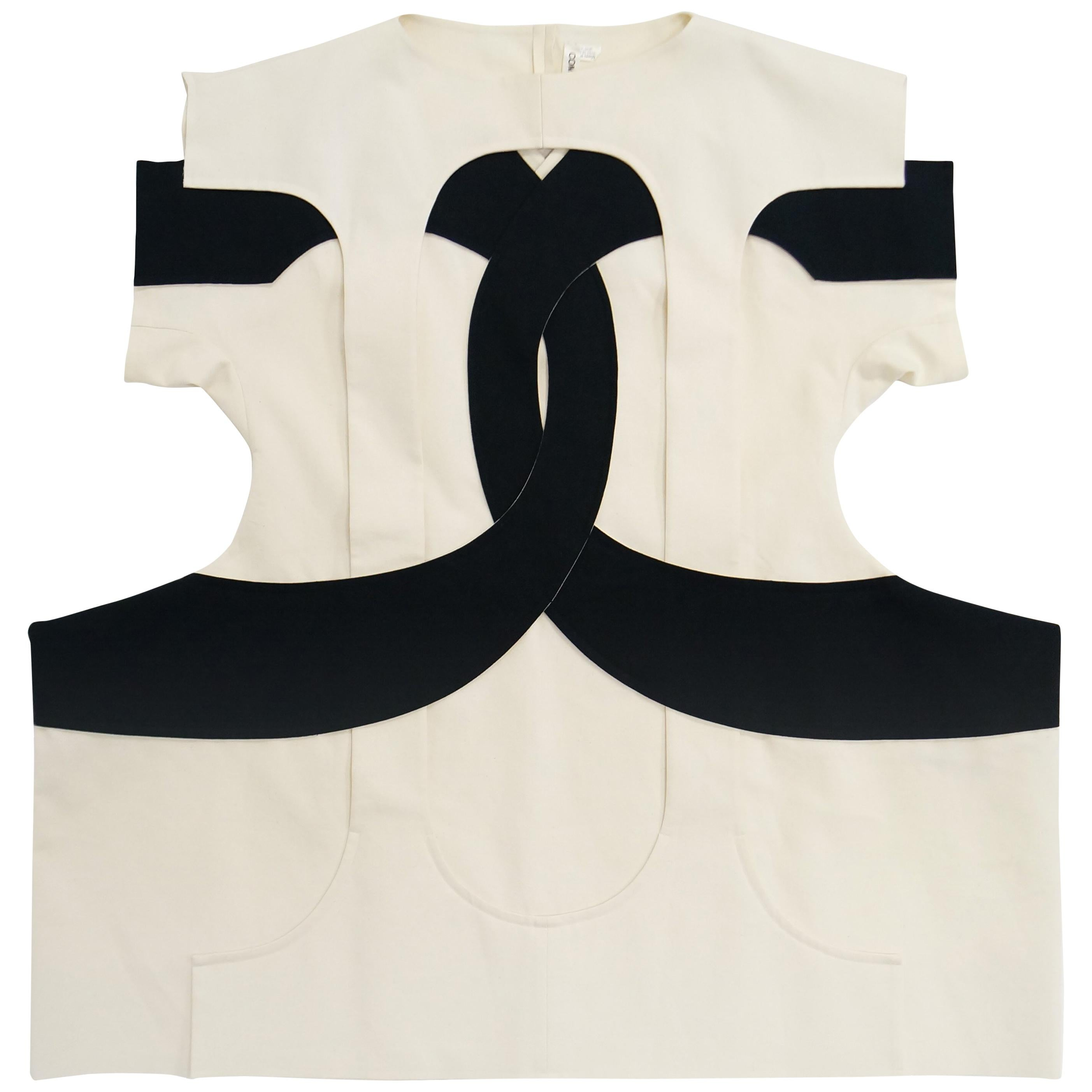 Iconic Comme des Garçons Black and White Flat Pack Runway Dress 2014