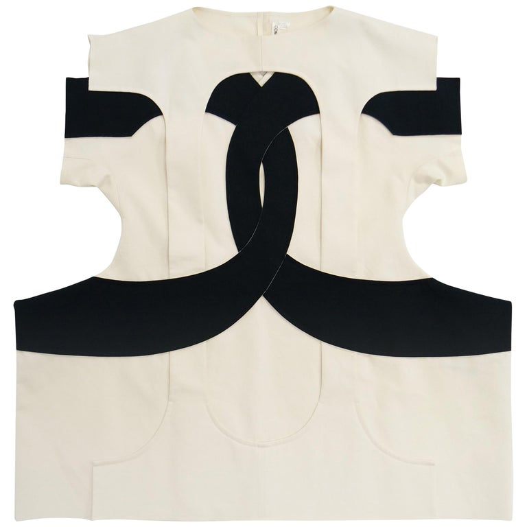 Iconic Comme des Garçons Black and White Flat Pack Runway Dress 2014 For Sale
