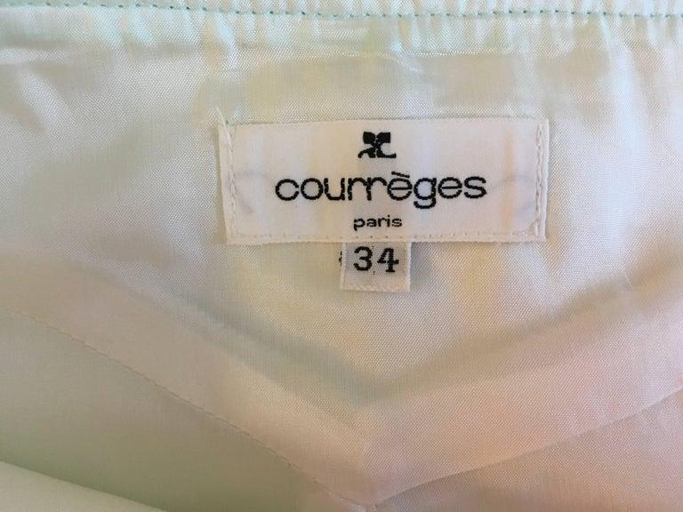 Courreges Sea Foam Aqua Mini Skirt   In Excellent Condition For Sale In Boca Raton, FL