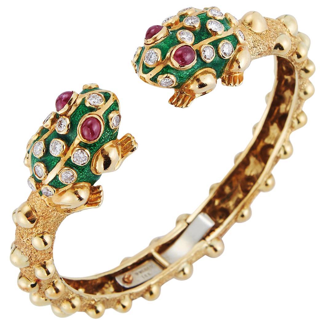 Iconic David Webb Frog Bangle Bracelet