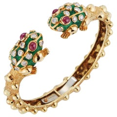 Iconic David Webb Frog Bangle Bracelet