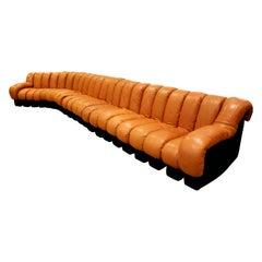 "Iconic De Sede ""Non Stop Sofa"" in Leather, 1970s"