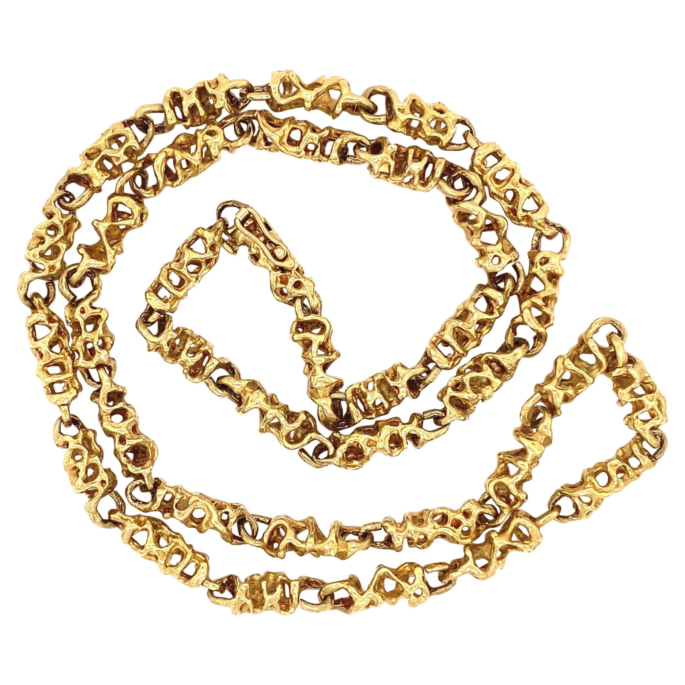 Iconic Designer Ed Wiener Heavy 18 Karat Gold Abstract Link Chain Necklace