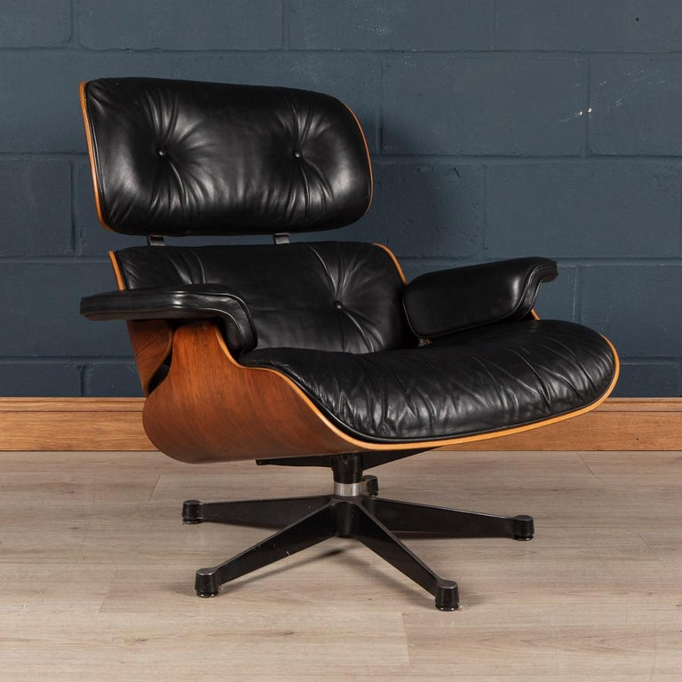 German Iconic Eames Black Leather Lounge Chair by Vitra, C.1980 For Sale