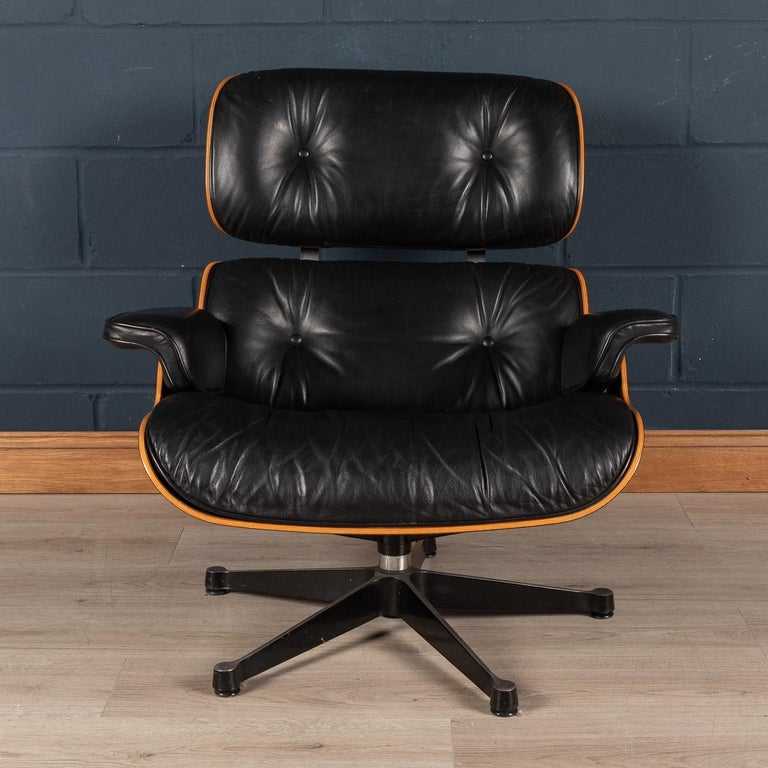 Iconic Eames Black Leather Lounge Chair by Vitra, C.1980 In Good Condition For Sale In Royal Tunbridge Wells, Kent