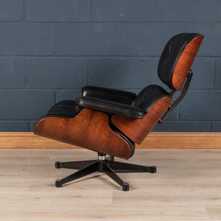 20th Century Iconic Eames Black Leather Lounge Chair by Vitra, C.1980 For Sale
