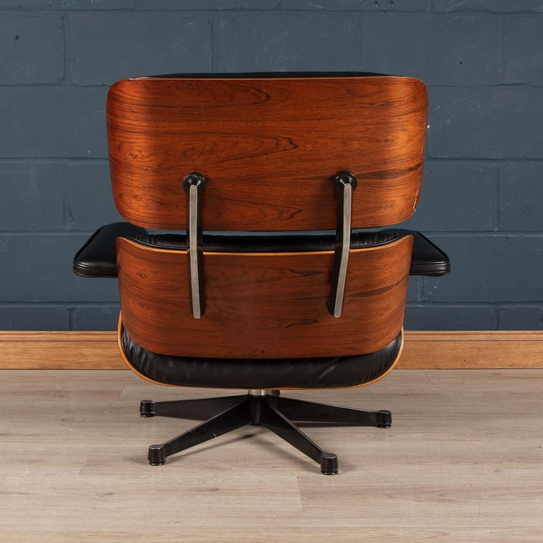 Iconic Eames Black Leather Lounge Chair by Vitra, C.1980 For Sale 1