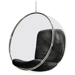 Iconic Eero Aarnio Black Leather Bubble Chair